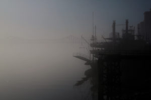 Natchez riverboat on Mississippi River in fog